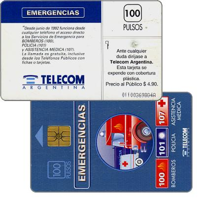 Phonecard for sale: Telecom Argentina - Emergencies, with price on back, 100 pulsos