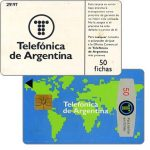 The Phonecard Shop: Telefonica de Argentina - World map 2nd series, 50 fichas