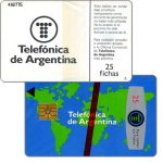 The Phonecard Shop: Telefonica de Argentina - World map 3rd series, 25 fichas