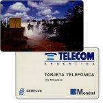 The Phonecard Shop: Argentina, Telecom Argentina - Iguazu Falls, Monetel/Gemplus trial card used in Rosario (Santa Fe province), 100 pulsos