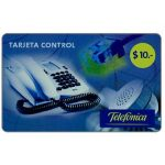 The Phonecard Shop: Argentina, Telefonica - Tarjeta Control, $10, value in small digits