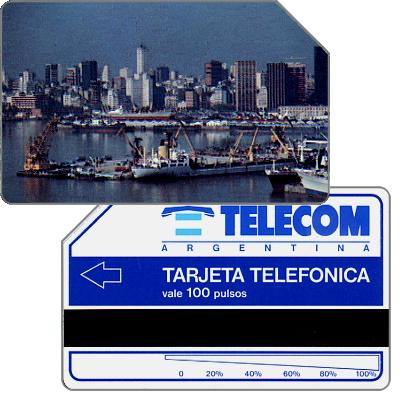 Phonecard for sale: Telecom Argentina - First issue, Port of Buenos Aires, long units scale (56 mm), 100 pulsos