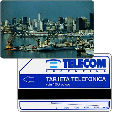 Phonecard for sale: Telecom Argentina - Port of Buenos Aires, short units scale (51 mm), Complimentary 100 pulsos