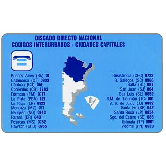 Phonecard for sale: Telecom Argentina - Argentina code map, 200 pulsos