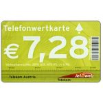The Phonecard Shop: Austria, New prices in euro, logo at right, € 7,28