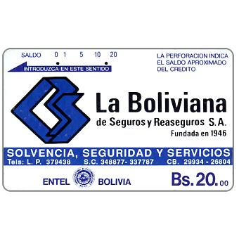 Phonecard for sale: Entel - La Boliviana, brown back, Bs.20