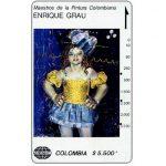"""The Phonecard Shop: Colombia, Telecom - Maestros de la Pintura Colombiana, Enrique Grau, """"Lola Carnaval"""", $5.500"""