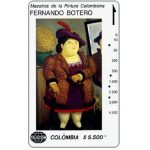 """The Phonecard Shop: Colombia, Telecom - Maestros de la Pintura Colombiana, Fernando Botero, """"Mujer con abrigo de piel"""", $5.500"""