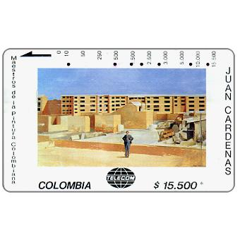 "The Phonecard Shop: Telecom - Maestros de la Pintura Colombiana, Juan Cardenas, ""Edificios en Costruccion"", $15.500"