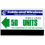 The Phonecard Shop: Cable & Wireless, green arrow, logo with 7 vertical stripes, 50 units
