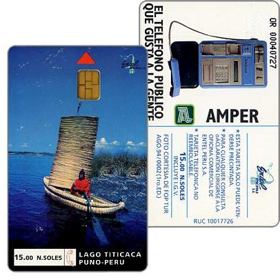 Entel - Trial card, Titicaca Lake (some small scratches), NS/.15