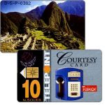 The Phonecard Shop: Telepoint - Telkor Courtesy card, Macchu Picchu / Blue telephone, 10 N.soles