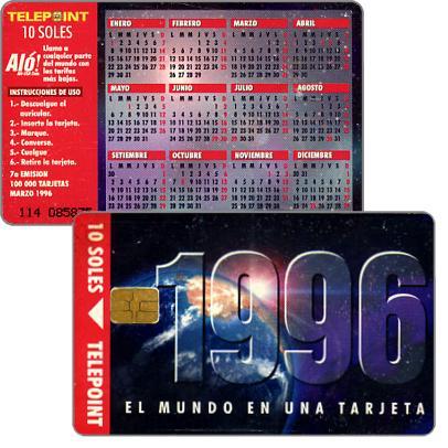 The Phonecard Shop: Peru, Telepoint - Calendar 1996, s/.10
