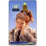 The Phonecard Shop: Uruguay, Antel, Children, girl with fur-coat, $5