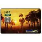 The Phonecard Shop: Uruguay, Antel, Palm trees at sunset, $25