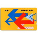 The Phonecard Shop: Denmark, KTAS - Arrows On Yellow, 2KTSA, deep notch, 90 kr