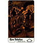 Phonecard for sale: Fyns Telefon - First issue, Art made in paper, deep notch, 1FYNB, 20 kr