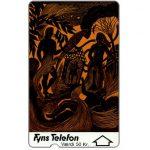 The Phonecard Shop: Denmark, Fyns Telefon - First issue, Art made in paper, deep notch, 1FYNB, 20 kr