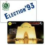 The Phonecard Shop: TeleCard, Mazar-e-Quaid Mausoleum, no bank logo, Election 93, chip SC-5, overprinted 30 units