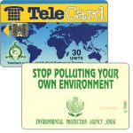 The Phonecard Shop: TeleCard, world map with bank logo, Stop Polluting, 30 units