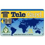 The Phonecard Shop: TeleCard, world map with bank logo, white reverse, 75 units