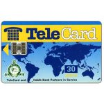 "The Phonecard Shop: TeleCard, world map with bank logo, white reverse, overprinted 30 units (yellow ""units"")"