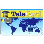 "The Phonecard Shop: TeleCard, world map with bank logo, white reverse, overprinted 30 units (blue ""units"")"