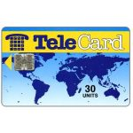 The Phonecard Shop: TeleCard, world map without bank logo, white reverse, 30 units