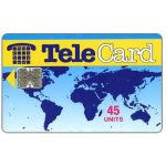 The Phonecard Shop: TeleCard, world map without bank logo, white reverse, 45 units