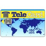 The Phonecard Shop: TeleCard, world map without bank logo, white reverse, 150 units