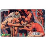 "Phonecard for sale: PLDT - 'Katipunnan Initiation Rites', painting by Carlos ""Botong"" Francisco, 100 Pesos"
