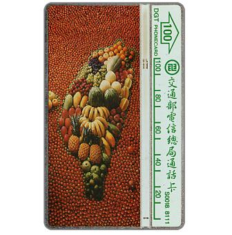 The Phonecard Shop: Map of Taiwan made by fruits, 231C, 100 units