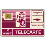 The Phonecard Shop: French Polynesia, First issue, Purple Tiki, white back, code 11493, chip SC-4 gold, 150 units