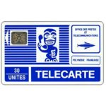 The Phonecard Shop: French Polynesia, Blue Tiki, thin arrow, chip SC-4 silver Ø7, 30 units