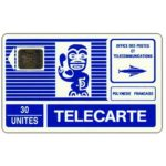 The Phonecard Shop: French Polynesia, Blue Tiki, large arrow, chip SC-5 silver Ø6, 30 units