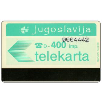 Phonecard for sale: Federativna Social. Rep. - White back, control number 7 digits, 400 imp.