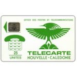 The Phonecard Shop: New Caledonia, First issue, Green Cagou bird, lot 17970, chip SC-4 Ø6 with frame, 25 units