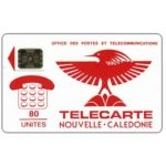 The Phonecard Shop: New Caledonia, Red Cagou Bird, chip SC-5 Ø6 with frame, 80 units