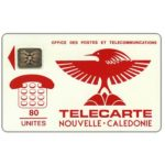 The Phonecard Shop: Red Cagou Bird,  chip SC-4 Ø6 without frame, 80 units