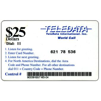 Phonecard for sale: Teledata International - Card used by US military peace force during the war, Dial 11 in black, long barcode, $25