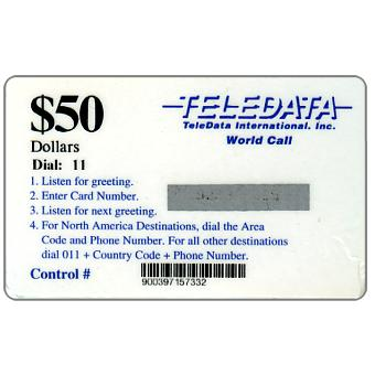 Phonecard for sale: Teledata International - Card used by US military peace force during the war, Dial 11 in black, short barcode, $50