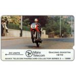 The Phonecard Shop: Isle of Man, TT Races 1988 - Giacomo Agostini, deep notch, 20 units