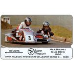 The Phonecard Shop: Isle of Man, TT Races 1989 - Mick Boddice & Chas Birks, deep notch, 10 units