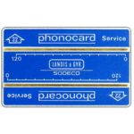 "The Phonecard Shop: Service card, 2 mm band, without notch, 0316+4 digits, ""22"" in arrow, 240 units"