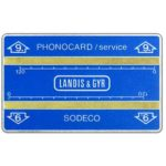 "The Phonecard Shop: Service card, 4 mm. band, without notch, 705S, ""9."" in arrow, 240 units"