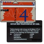 "The Phonecard Shop: Netherlands, Definitive, 7th series, ""Altijd Een Telefoontje..."" on back, complimentary 4 units"