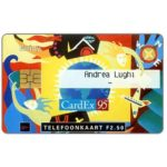 The Phonecard Shop: Netherlands, CardEx 1995 DocuCards, personal card Andrea Lughi, FL 2.50