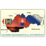 The Phonecard Shop: Slovakia, Map of Slovakia, small national emblem, 05/93, orange printed code, chip SC-5, 75 units