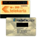 The Phonecard Shop: Provisional yugoslavian card overprinted 'PTT Slovenija', 200 units