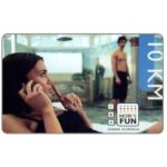 The Phonecard Shop: Telekom Srpske Mobi's - Girl at phone, 10 KM